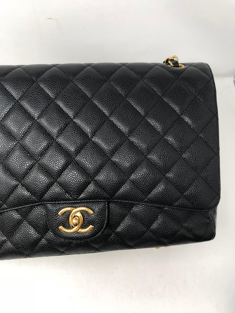 Chanel Maxi Black Caviar GHW Double Flap For Sale 16