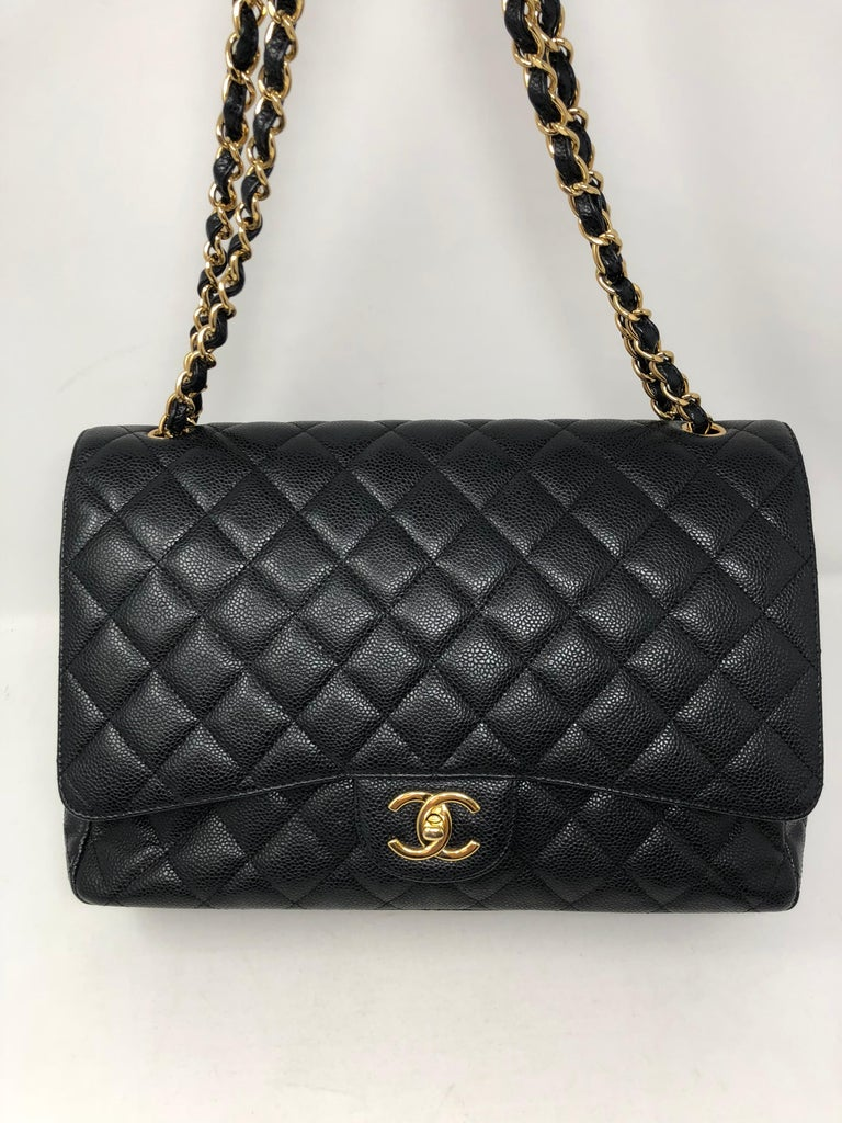 Women's or Men's Chanel Maxi Black Caviar GHW Double Flap For Sale