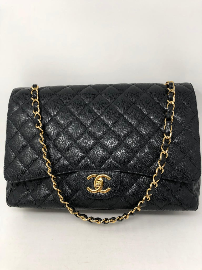 Chanel Maxi Black Caviar GHW Double Flap For Sale 1