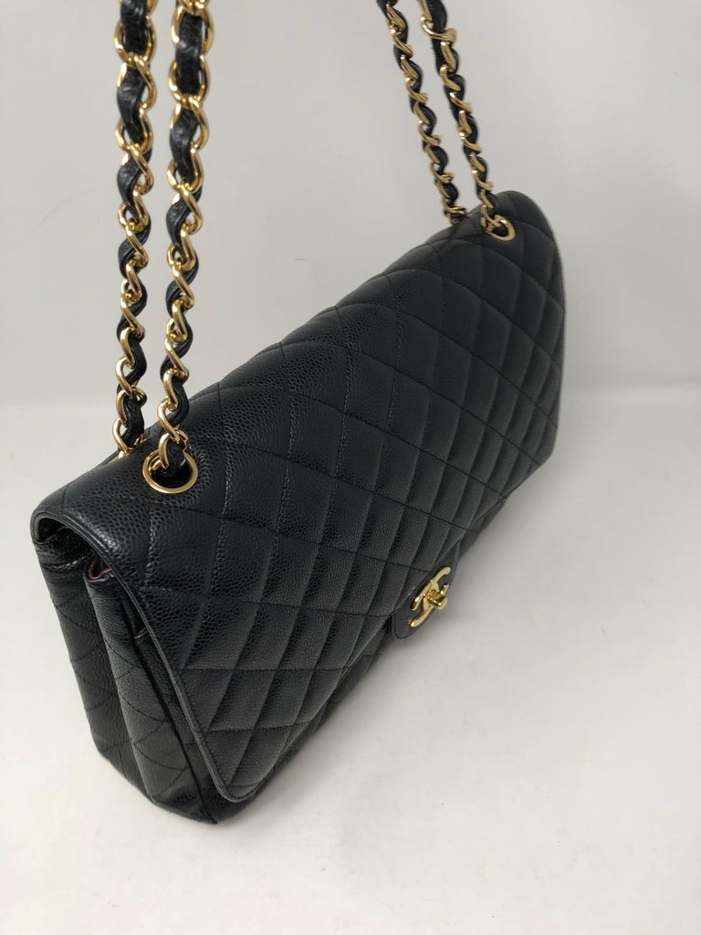 Chanel Maxi Black Caviar GHW Double Flap For Sale 2