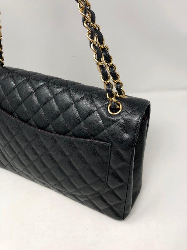 Chanel Maxi Black Caviar GHW Double Flap For Sale 4