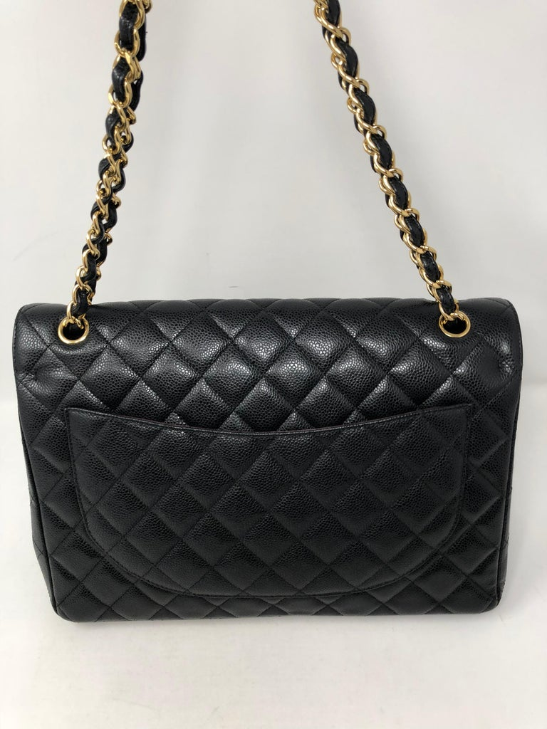 Chanel Maxi Black Caviar GHW Double Flap For Sale 5