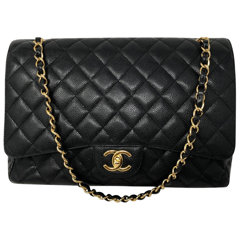 Chanel Maxi Black Caviar GHW Double Flap For Sale
