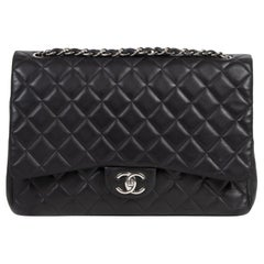 Chanel Maxi Black Lambskin Classic Double Flap Bag