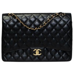 Chanel Dimond Quilted Black Caviar Leather Maxi Classic Double Flap Bag