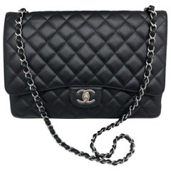 Chanel Maxi Classic Flap Bag - Black Caviar Leather - Silver Hardware