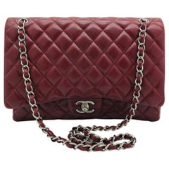 Chanel Maxi Classic Flap Bag - Burgundy Caviar Leather Silver Hardware