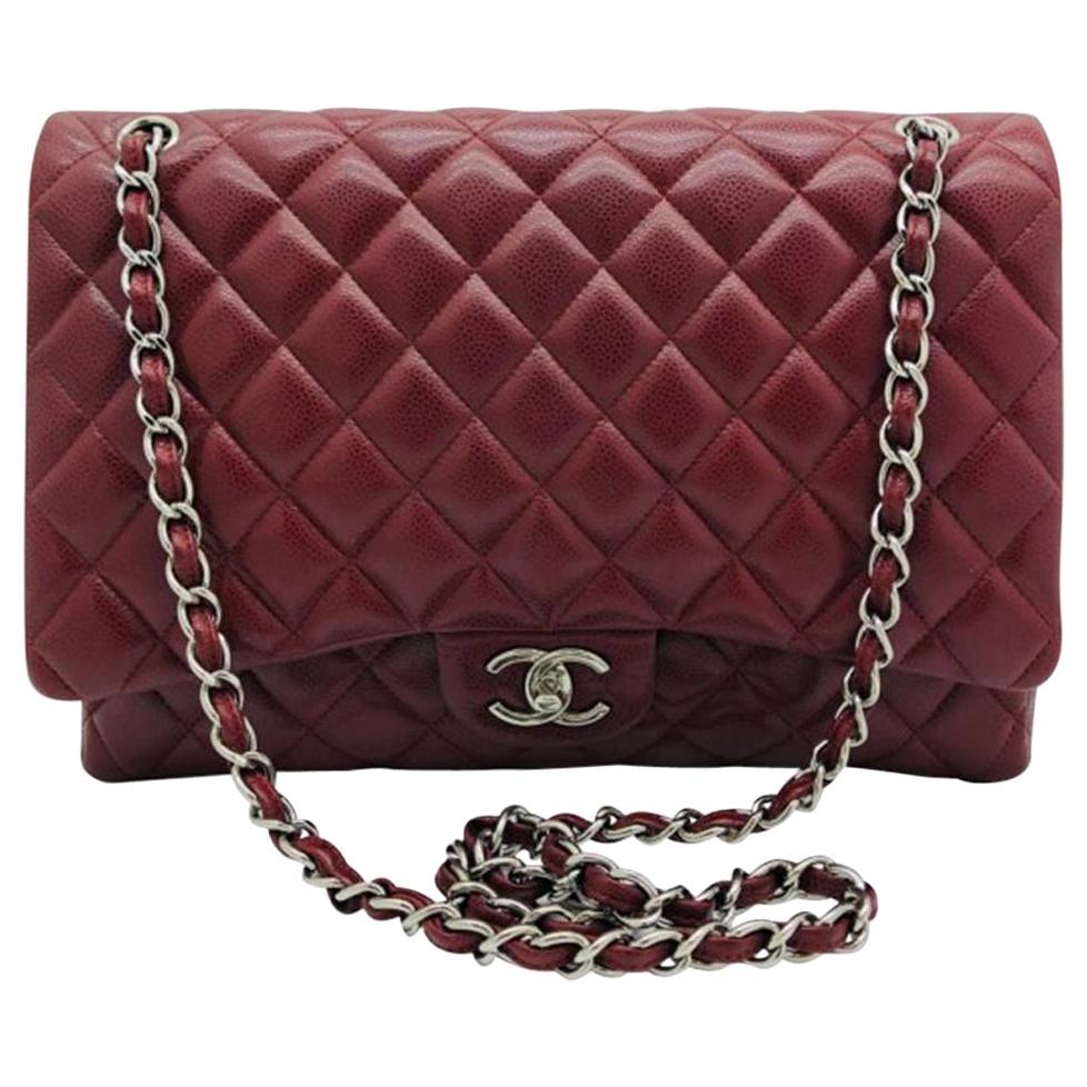 Chanel Maxi Classic Flap Bag - Burgundy Caviar Leather Silver Hardware