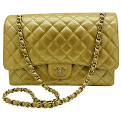 Chanel Maxi Classic Flap Bag - Gold Patent Leather Gold Hardware