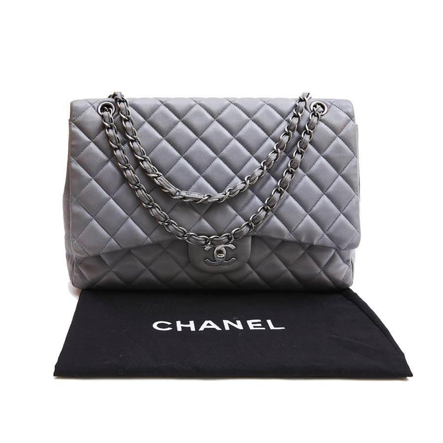 f699efd5d CHANEL Maxi Jumbo Bag in Pearl Gray Quilted Leather at 1stdibs