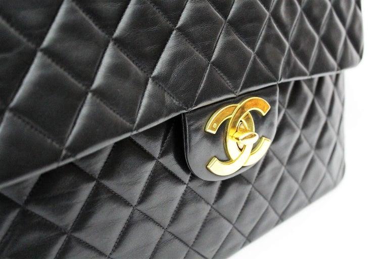 Chanel Maxi Jumbo Single Flap Gold Hardware Black Lambskin  For Sale 1