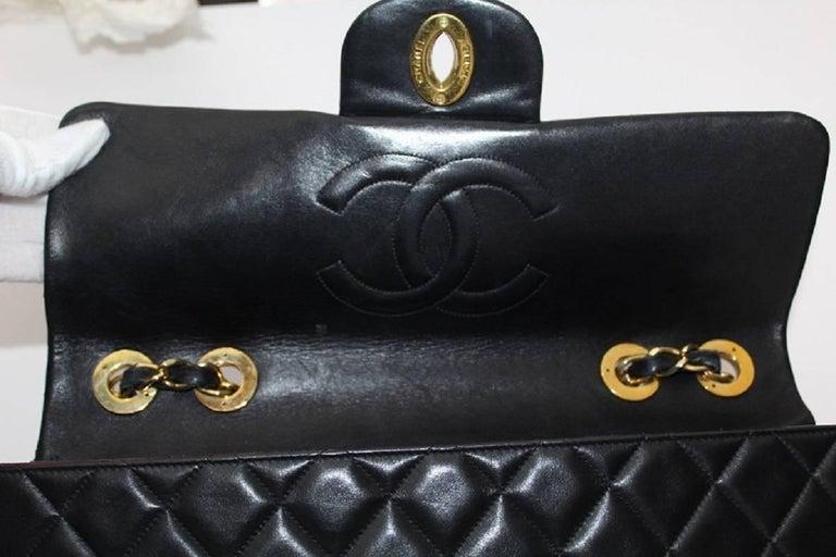Chanel Maxi Jumbo Single Flap Gold Hardware Black Lambskin  For Sale 3