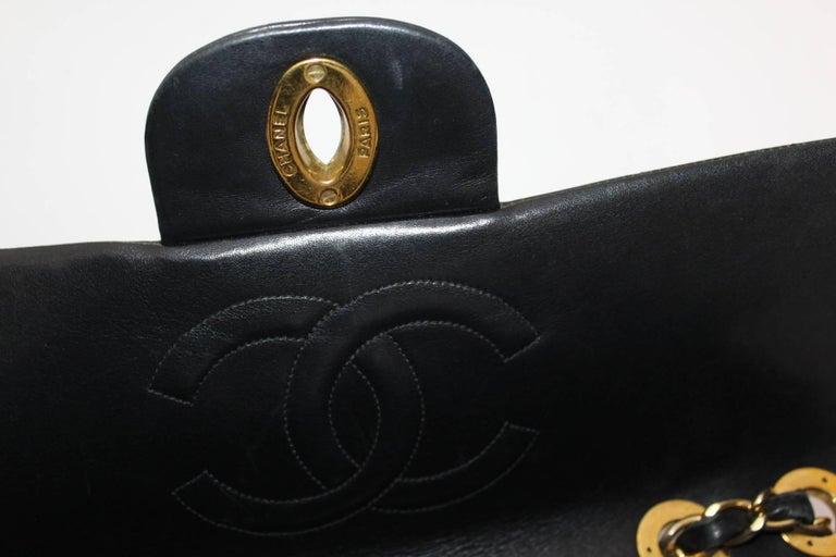 Chanel Maxi Jumbo Single Flap Gold Hardware Black Lambskin  For Sale 4