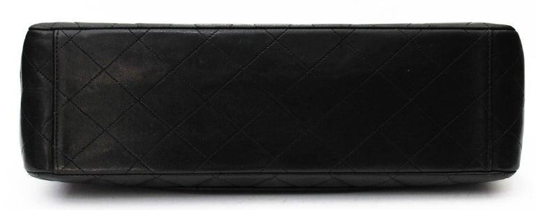 Chanel Maxi Jumbo Single Flap Gold Hardware Black Lambskin  For Sale 5