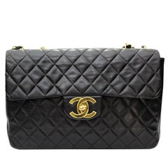 Chanel Maxi Jumbo Single Flap Gold Hardware Black Lambskin