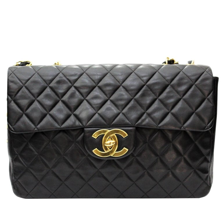 Chanel Maxi Jumbo Single Flap Gold Hardware Black Lambskin  For Sale