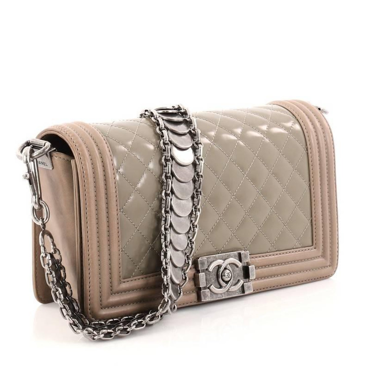 8ba88963544d Chanel Medallion Boy Flap Bag Quilted Glazed Calfskin with Leather Old  Medium at 1stdibs