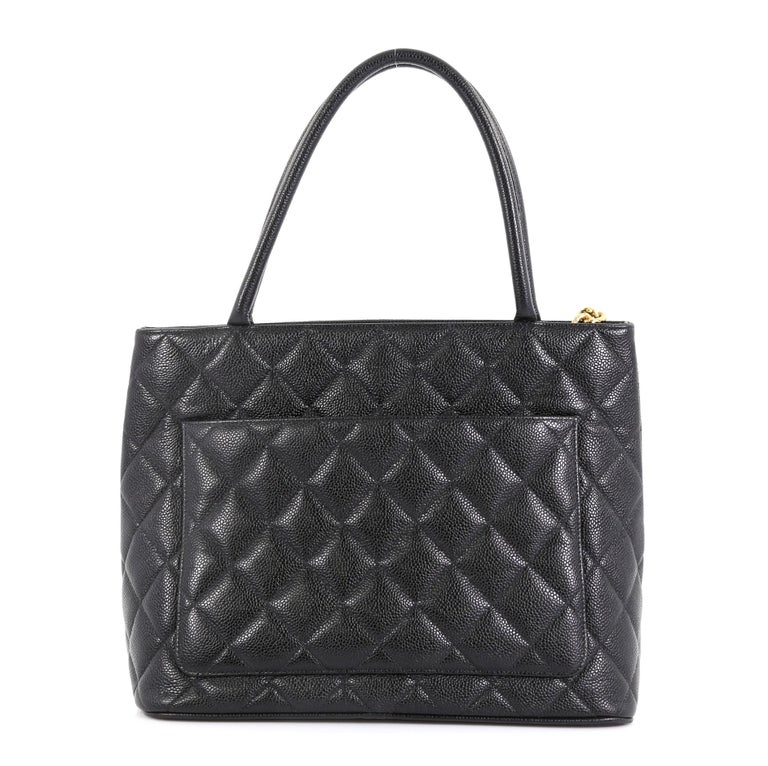 Black Chanel Medallion Tote Quilted Caviar