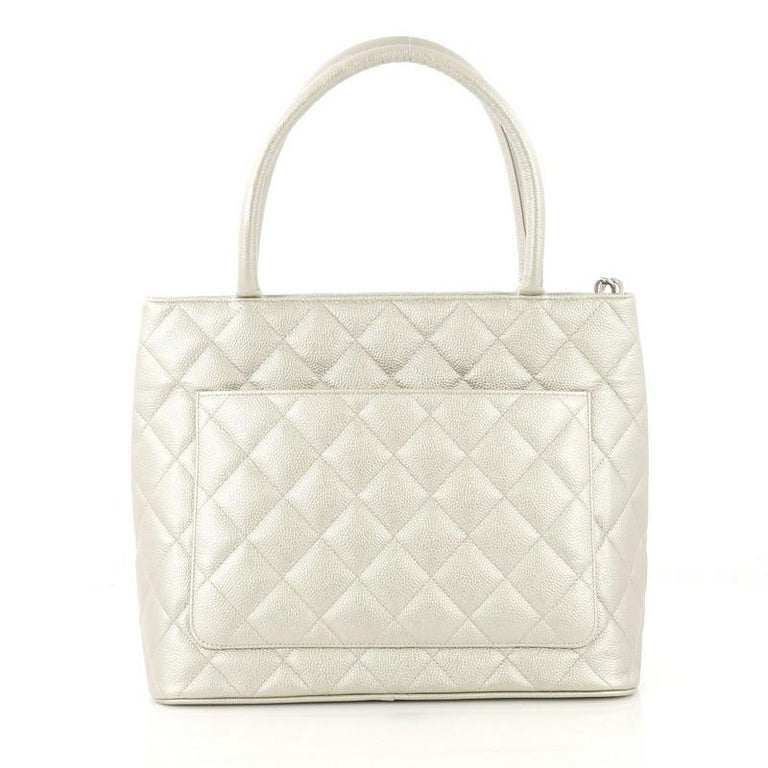Beige Chanel Medallion Tote Quilted Caviar