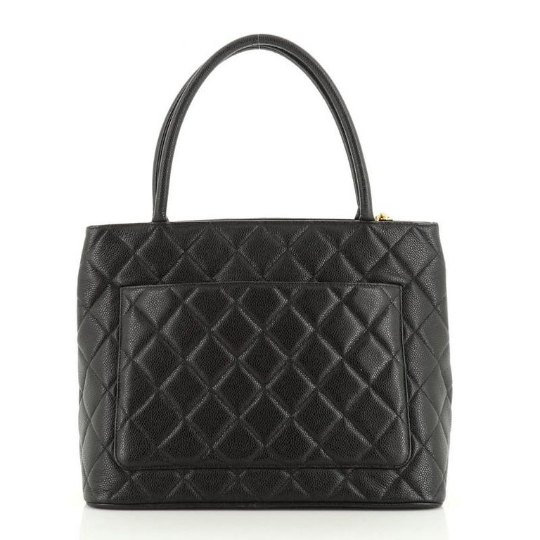 Women's or Men's Chanel Medallion Tote Quilted Caviar  For Sale