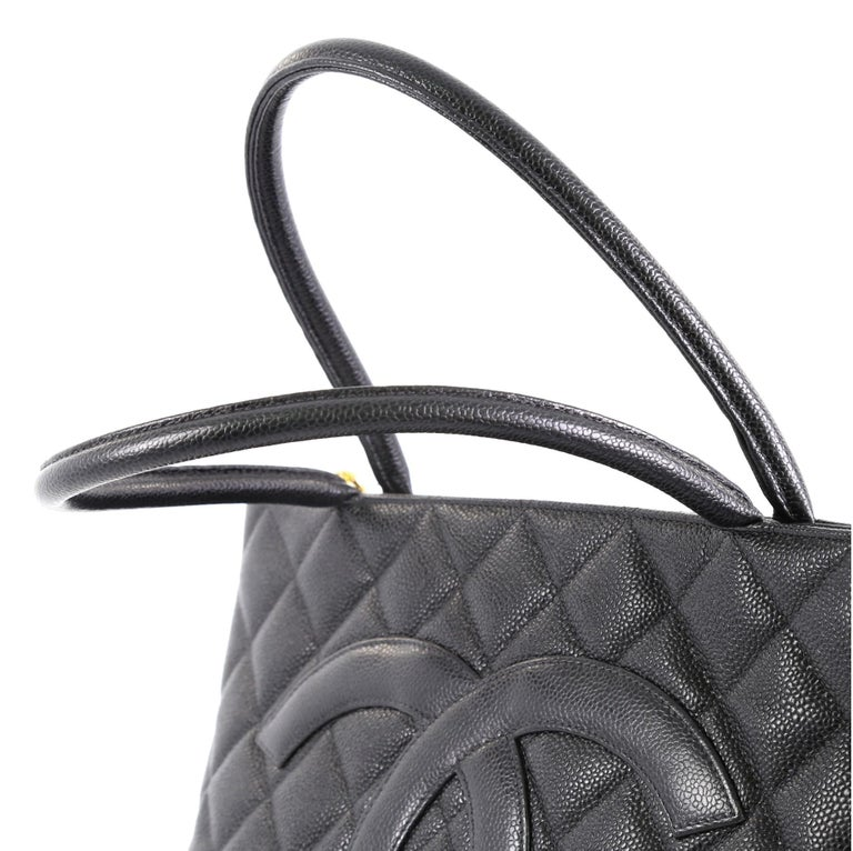 Chanel Medallion Tote Quilted Caviar 1