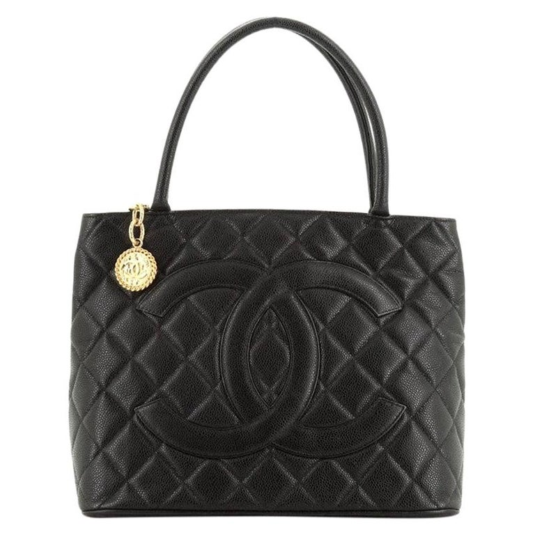 Chanel Medallion Tote Quilted Caviar  For Sale