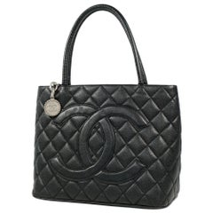 CHANEL Medallion tote Womens tote bag A01804 black x silver hardware