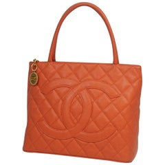 CHANEL Medallion tote Womens tote bag A01804 Salmon pink x gold hardware
