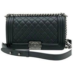 Chanel Medium Boy Bag - Black Lambskin Ruthenium Hardware