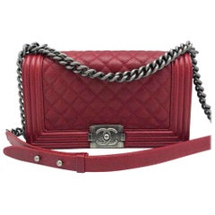 Chanel Medium Boy Bag - Red caviar leather