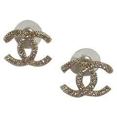 Chanel Medium CC Logo Gold-toned And Rhinestones Earrings