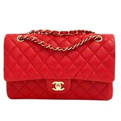 Chanel Medium Classic Caviar Double Flap Red Gold Hardware New 19B