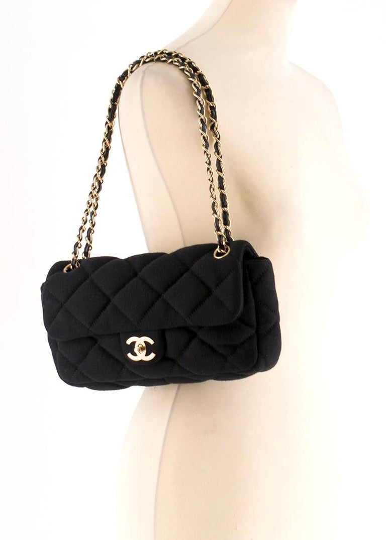 6cba35cf7eb1 Chanel Medium Jersey Quilted Flap Bag For Sale 2