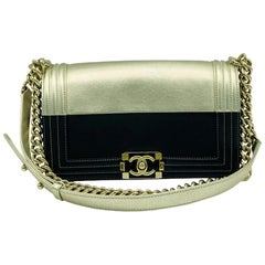 Chanel Medium Limited Edition Boy Bag - Black and Gold Leather