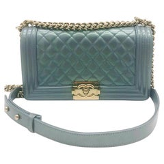 Chanel Medium Limited Edition Boy Bag - Blue Iridescent - Excellent condition