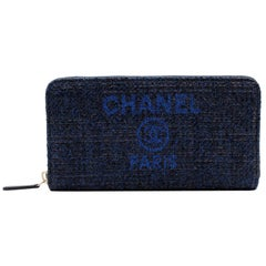 Chanel Medium Navy Blue Tweet Canvas Zip Wallet A81977 5B746