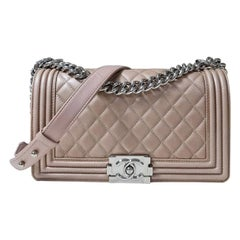 Chanel Medium Quilted Iridescent Pearly Rose Gold Calfskin Boy Bag