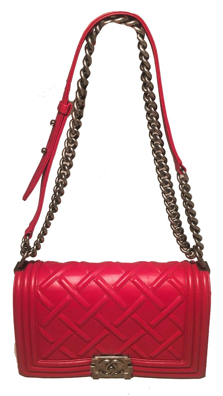 Chanel Medium Rouge Red Chateau Celtic Le Boy Classic Flap Shoulder Bag in excellent condition. Rouge red lambskin leather exterior in the classic le boy design with unique chain cross stitch quilt pattern to pay homage to celtic culture. Antiqued