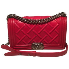 Chanel Medium Rouge Red Chateau Celtic Le Boy Classic Flap Shoulder Bag