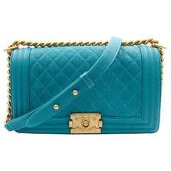 Chanel Medium Teal Turquoise Quilted Caviar Calf Skin Gold Tone Boy Bag A67086