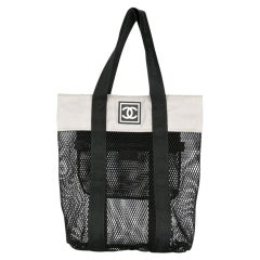 Chanel Mesh Logo Retro Sport Gym Shopper Tote Bag