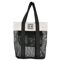 Chanel Mesh Logo Retro Sport Gym Shopper Tote Bag