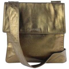Chanel Messenger Metallic Lambskin Flat 7cz1016 Bronze Leather Cross Body Bag