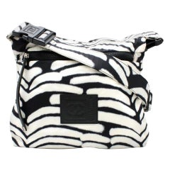 Chanel Messenger Vintage Black and White Nylon Cross Body Bag