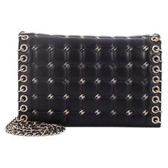 Chanel Metal CC Signature Clutch on Chain Embellished Quilted Leather Small