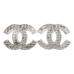 Chanel Metal Silver Tone CC Charm Evening Button Stud Earrings