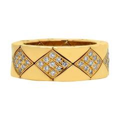 Chanel Metalassé 18 Karat Yellow Gold Diamond Flexible Band Ring