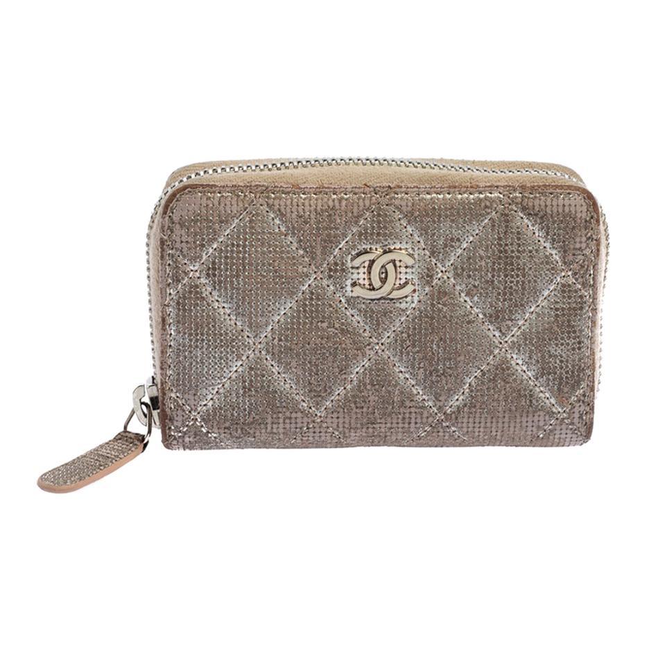 Chanel Metallic Beige Quilted Leather Zip Around Coin Purse