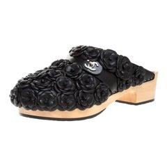 Chanel Metallic Black Camellia Embellished CC Lock Wooden Clogs Size 40