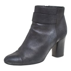 Chanel Metallic Black Nubuck CC Logo Block Heel Ankle Boots Size 38.5
